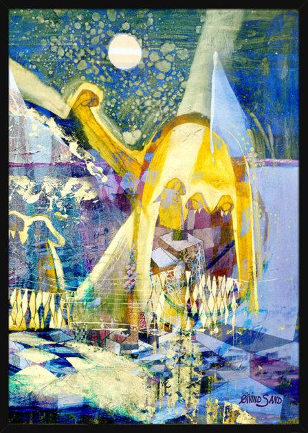 Helgener på havet med geometriske former, av kunstner Øivind Sand. Poster i en svart ramme.