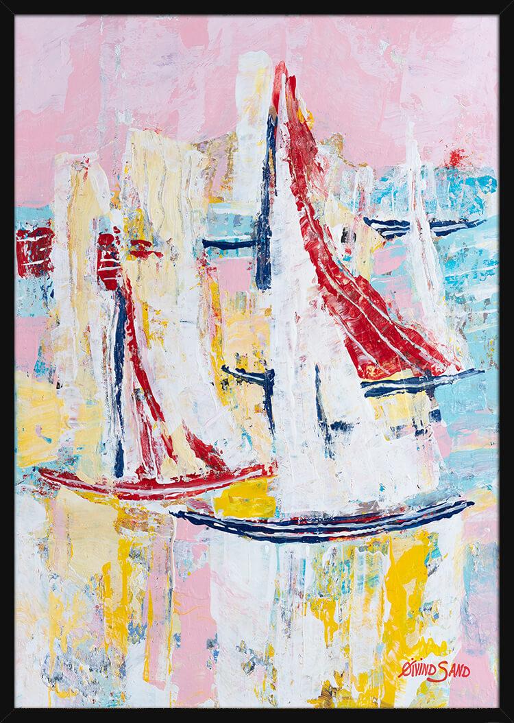 Seilbåter på havet malt med rike oljepastell farger, av kunstner Øivind Sand. Poster i en svart ramme.