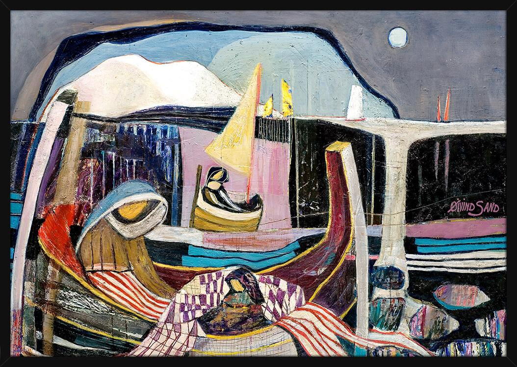 Nattmaleri med fiskere, av kunstner Øivind Sand. Poster i en svart ramme.