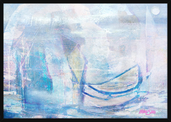 Et abstrakt marinemaleri med lyse farger, av kunstner Øivind Sand. Poster i en svart ramme.