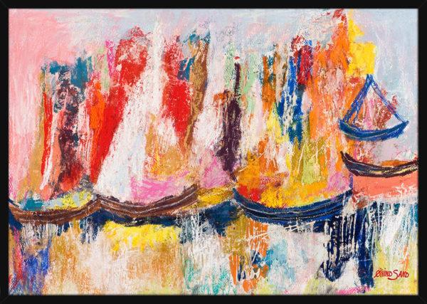 Seilbåter på havet tegnet med rike pastellfarger, av kunstner Øivind Sand. Poster i en svart ramme.