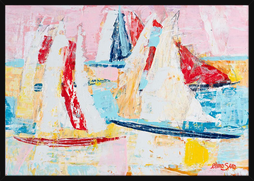 Seilbåter på havet malt med lyse og sterke farger, av kunstner Øivind Sand. Poster i en svart ramme.