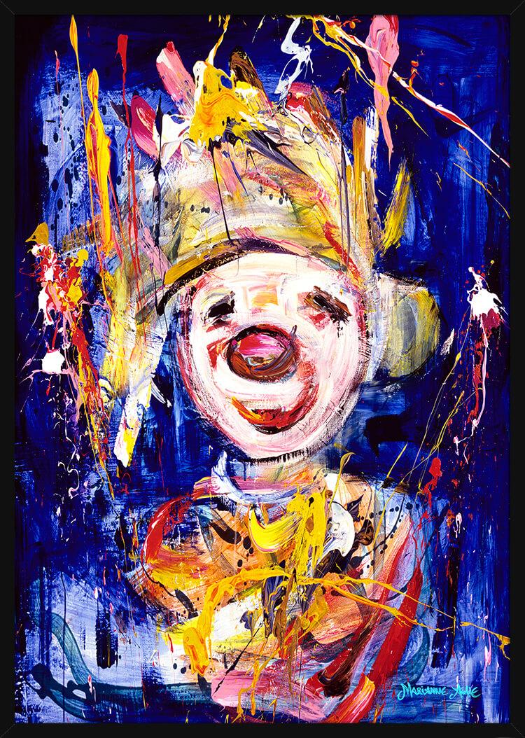 En Nobel Optimist malt med blå og lyse farger, av kunstner Marianne Aulie. Poster i en svart ramme.
