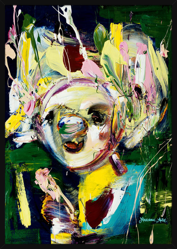 Den Gode Optimist malt i lyse og grønne farger, av kunstner Marianne Aulie. Poster i en svart ramme.