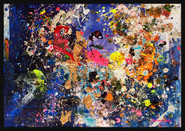 An abstract painting with a dazzling combination of colors by Marianne Aulie. Art print in a black frame.