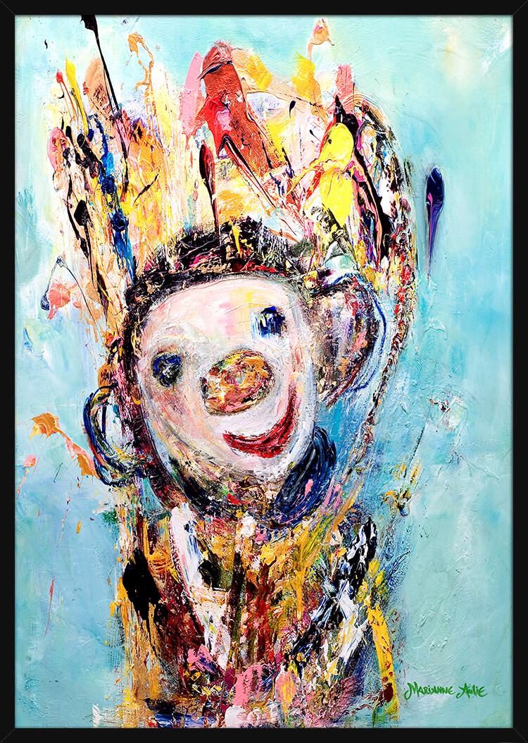 Champagne Optimist i lyse farger, av kunstner Marianne Aulie. Poster i en svart ramme.