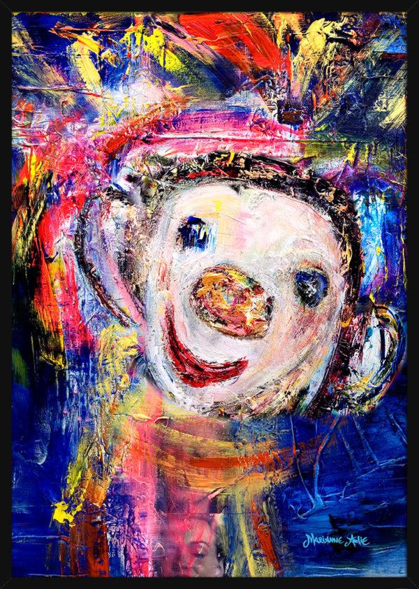 Portrett av Sommernattsprins Optimist, av kunstner Marianne Aulie. Poster i en svart ramme.