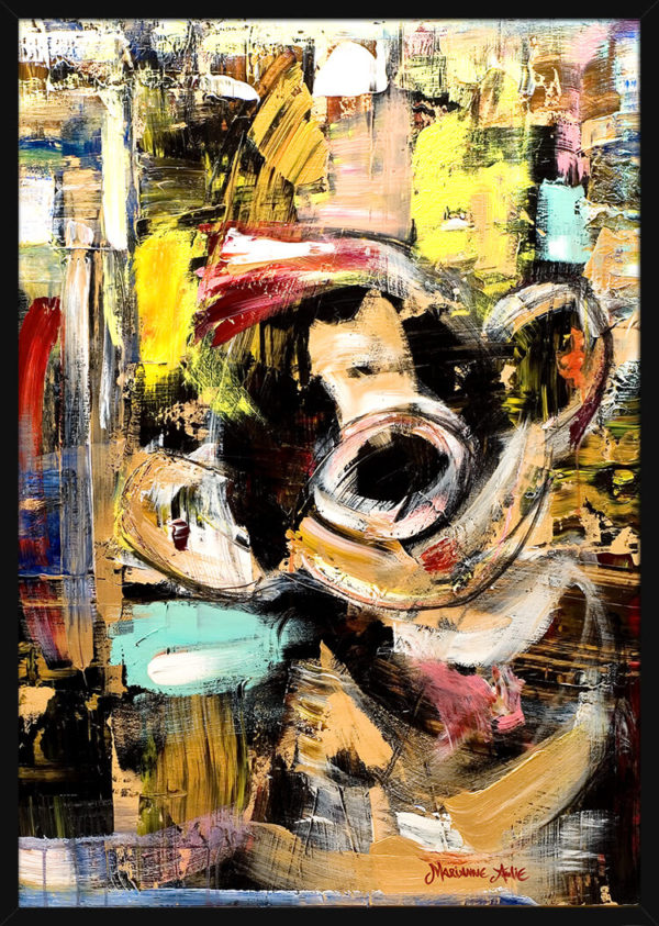 Portrett av Sol Optimist, av kunstner Marianne Aulie. Poster i en svart ramme.