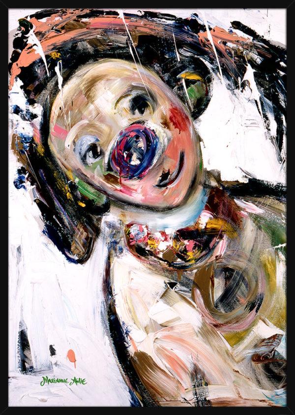 Portrett av Den Søteste Optimist, av kunstner Marianne Aulie. Poster i en svart ramme.