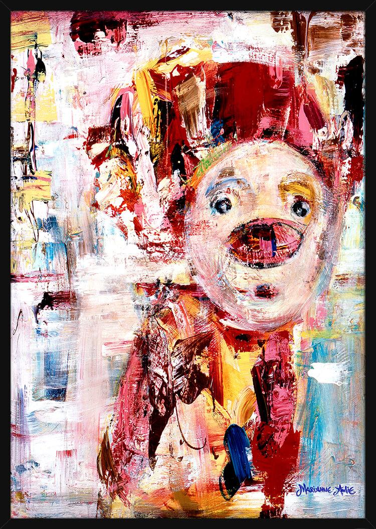 Portrett av Mammas Gull Optimist, av kunstner Marianne Aulie. Poster i en svart ramme.