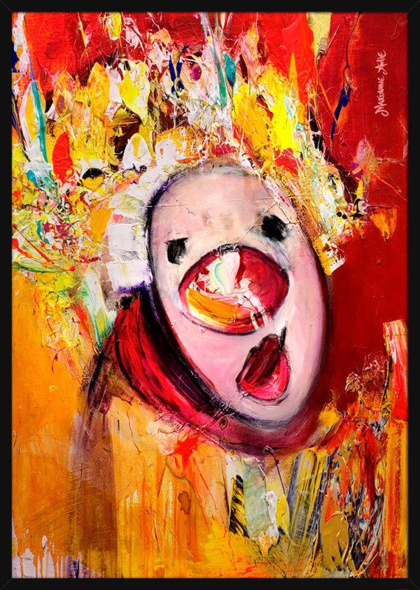 Portrett av Sussebass Optimist, av kunstner Marianne Aulie. Poster i en svart ramme.