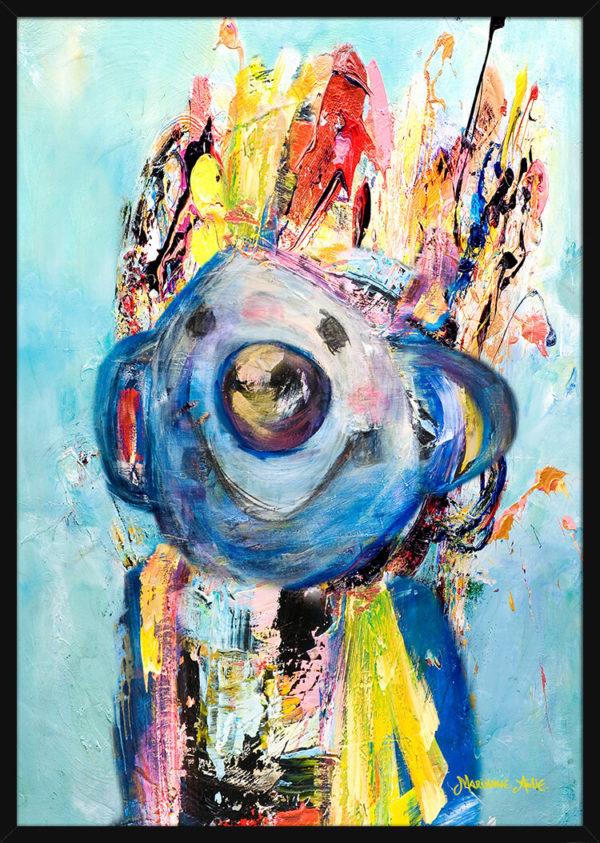 Portrett av en Tidlig Oppe Optimist, av kunstner Marianne Aulie. Poster i en svart ramme.