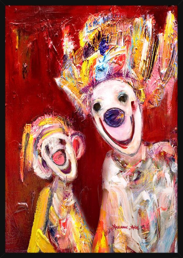Portrett av Bestemorlykke Optimist, av kunstner Marianne Aulie. Poster i en svart ramme.