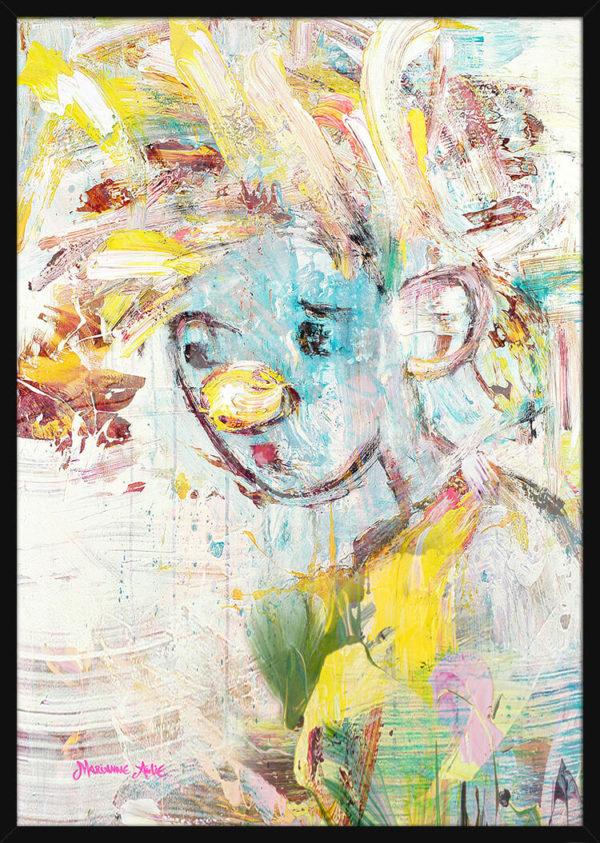 Portrett av en Kjærlighetsprins Optimist, av kunstner Marianne Aulie. Poster i en svart ramme.