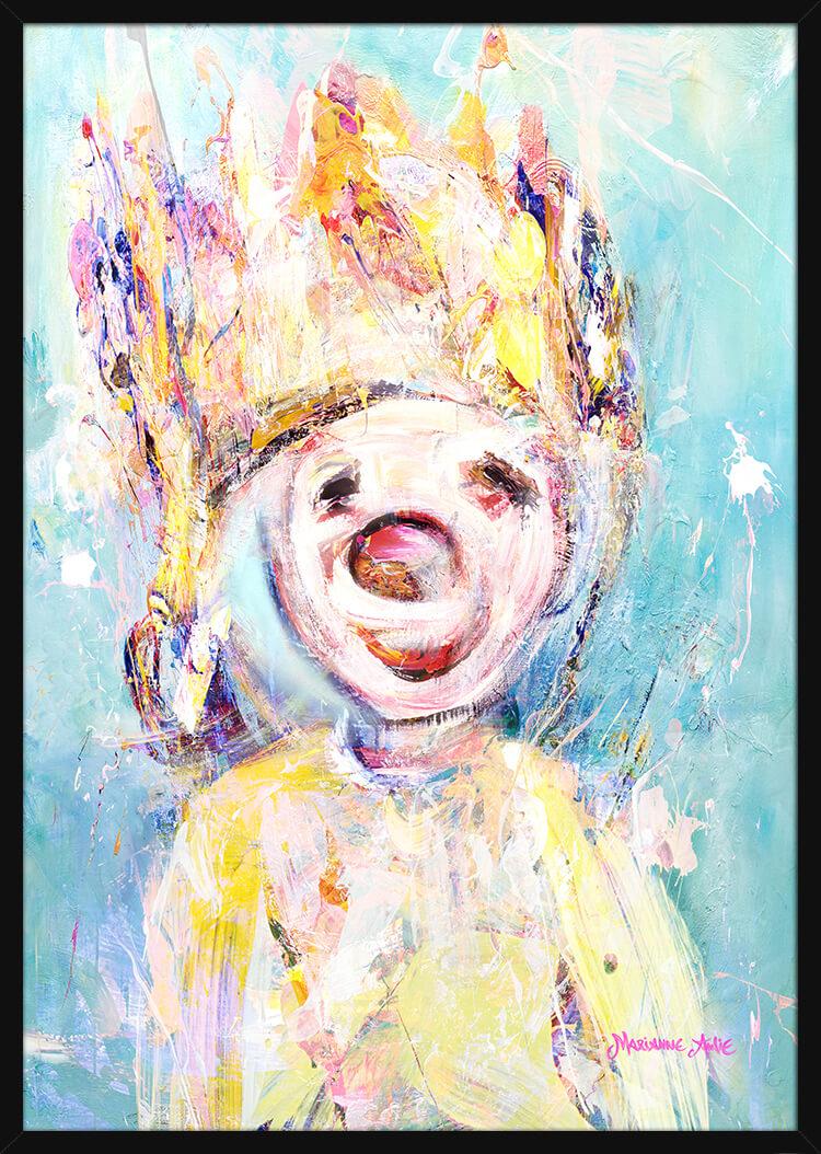 Portrett av Helgen Optimist, av kunstner Marianne Aulie. Poster i en svart ramme.