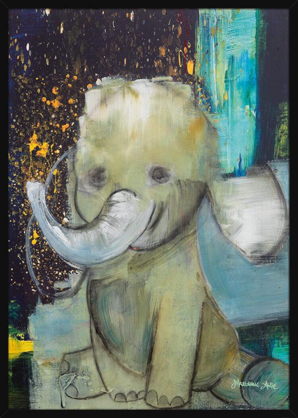 En Babyelefant malt med lyse farger, av kunstner Marianne Aulie. Poster i en svart ramme.