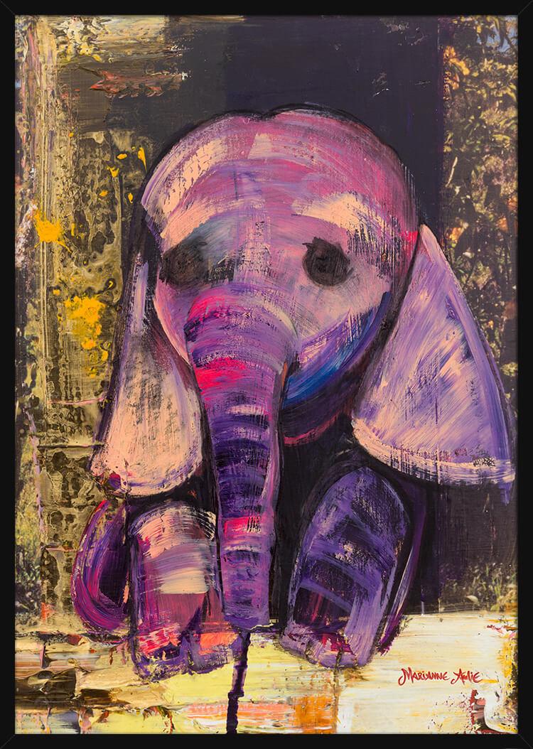 En lilla Babyelefant malt av kunstner Marianne Aulie. Poster i en svart ramme.
