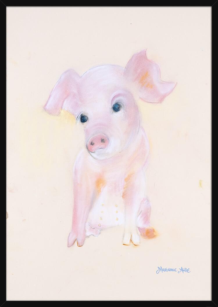 En smågris håndtegnet med rolige pastellfarger, av kunstner Marianne Aulie. Poster i en svart ramme.