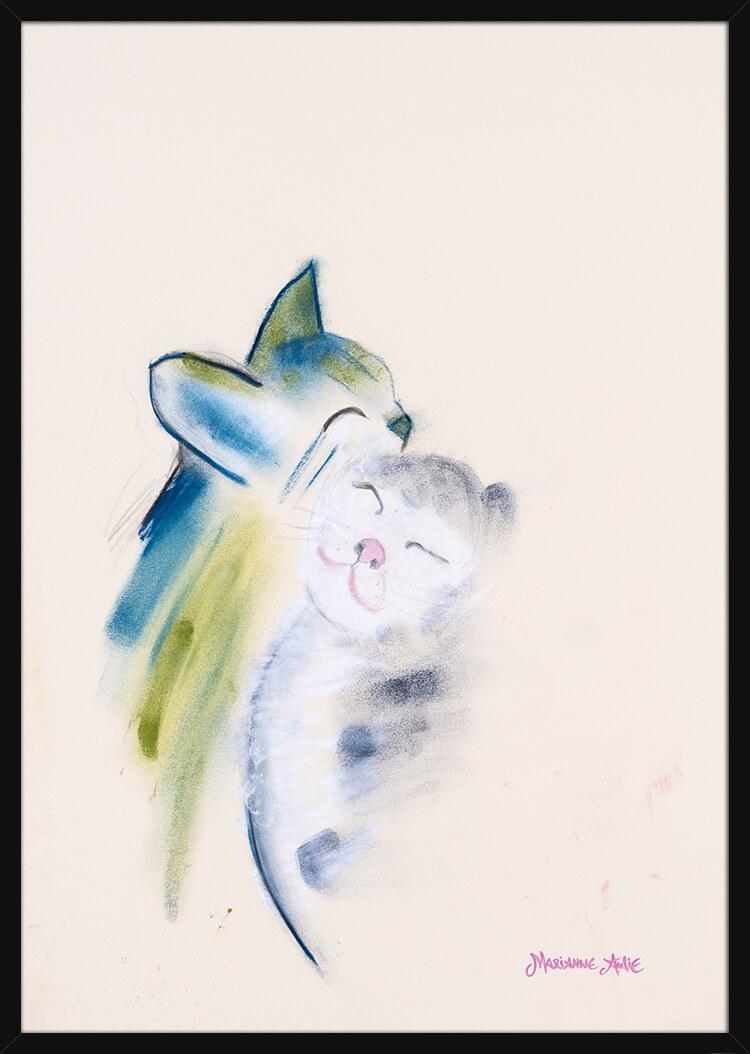 To kattunger håndtegnet med lyse pastellfarger, av kunstner Marianne Aulie. Poster i en svart ramme.
