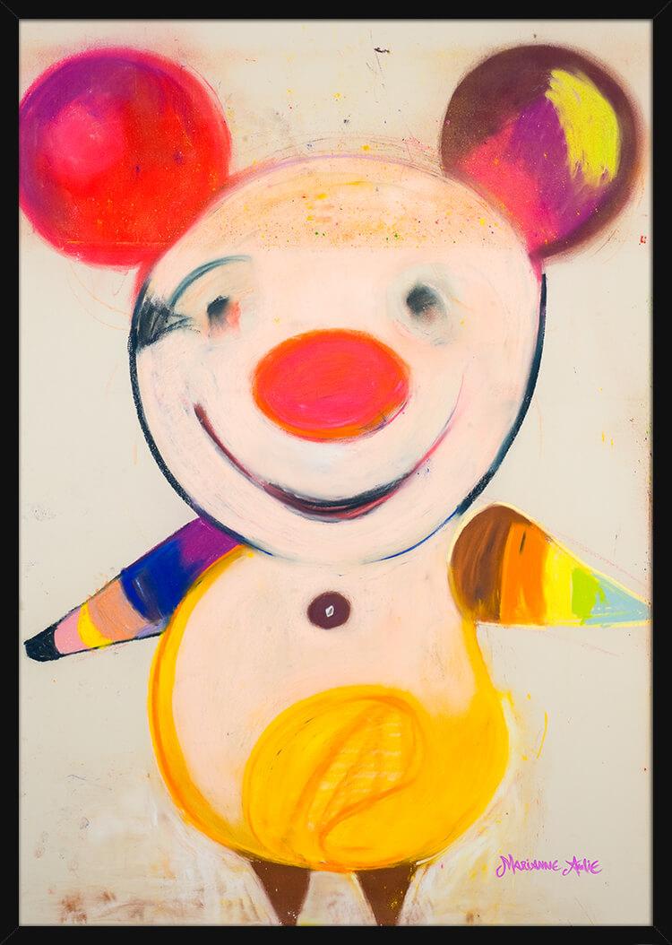 En Fargerik Optimist med rike pastellfarger, av kunstner Marianne Aulie. Poster i en svart ramme.