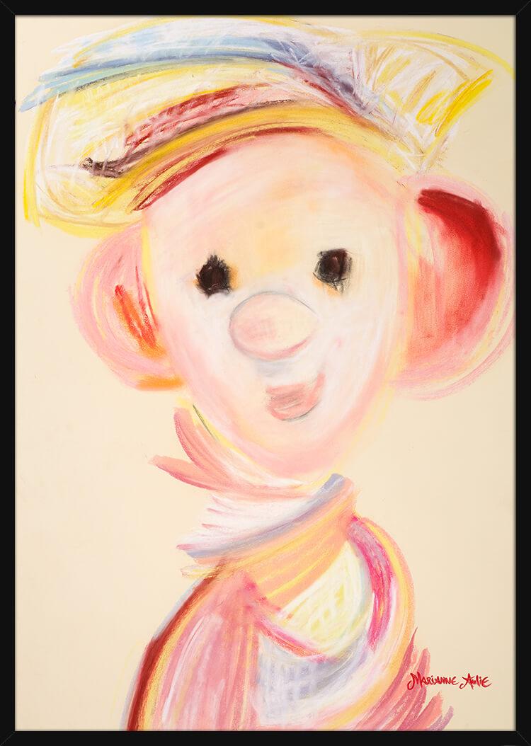 En ren Fløte Optimist med rike pastellfarger, av kunstner Marianne Aulie. Poster i en svart ramme.