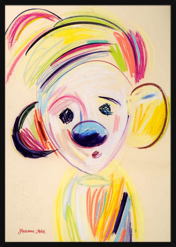Humlepasseren Optimist tegnet med rike pastellfarger, av kunstner Marianne Aulie. Poster i en svart ramme.