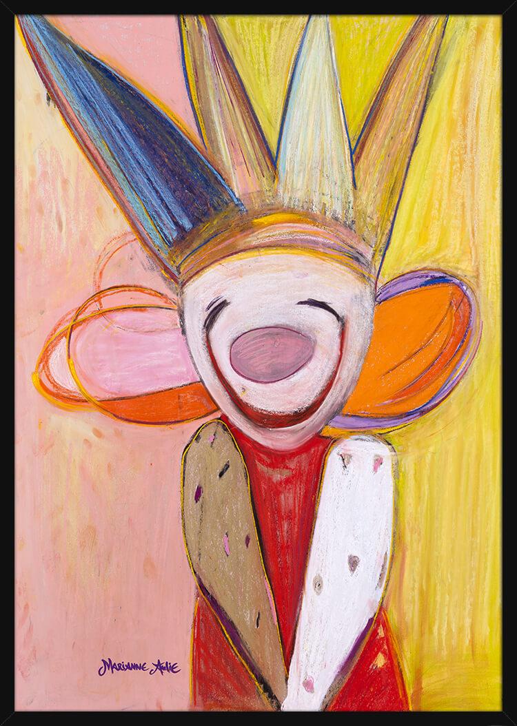 Dåpslykke Optimist tegnet med rike pastellfarger, av kunstner Marianne Aulie. Poster i en svart ramme.