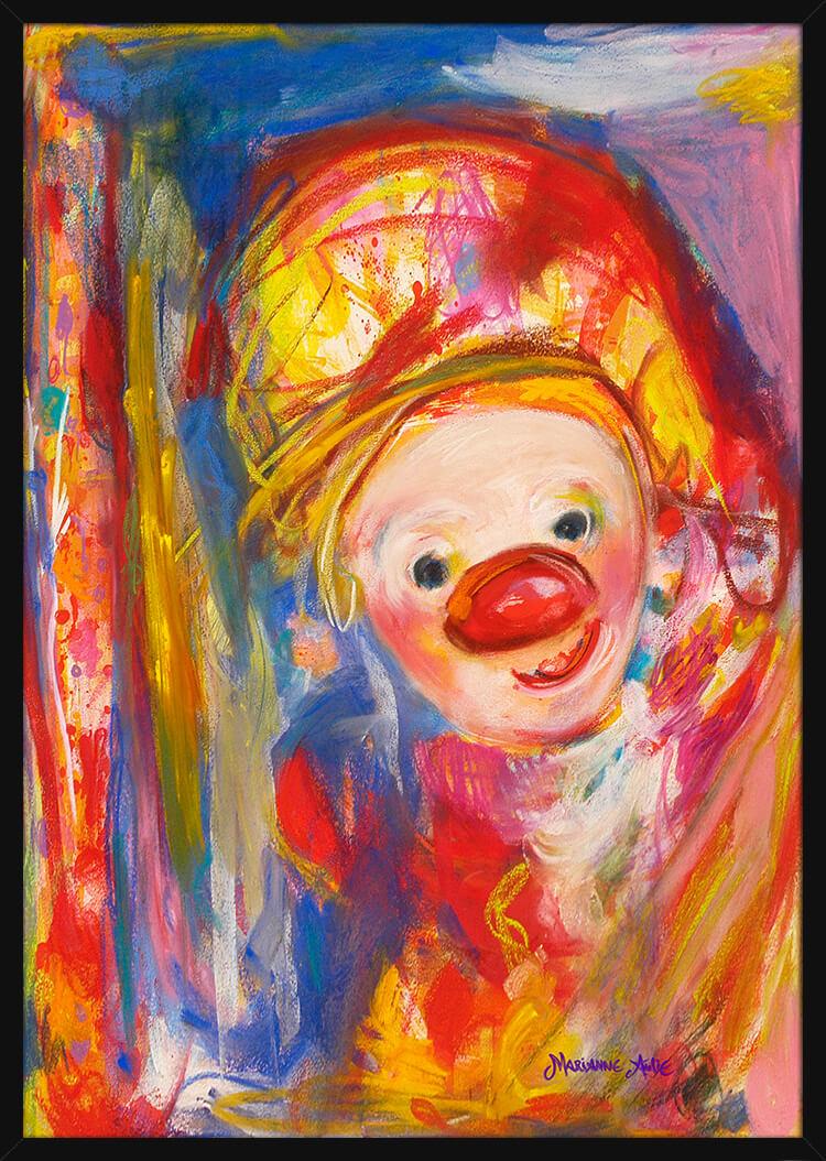 En Kjærlighets Optimist tegnet med rike pastellfarger, av kunstner Marianne Aulie. Poster i en svart ramme.