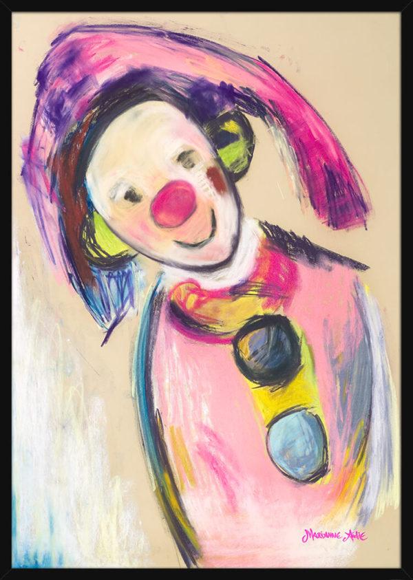 Optimist tegnet med lyse og rike pastellfarger, av kunstner Marianne Aulie. Poster i en svart ramme.