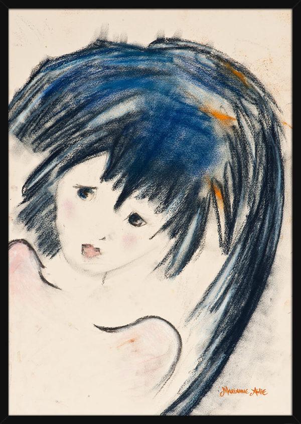 Optimist med langt mørkt hår tegnet i pastellfarger, av kunstner Marianne Aulie. Poster i en svart ramme.