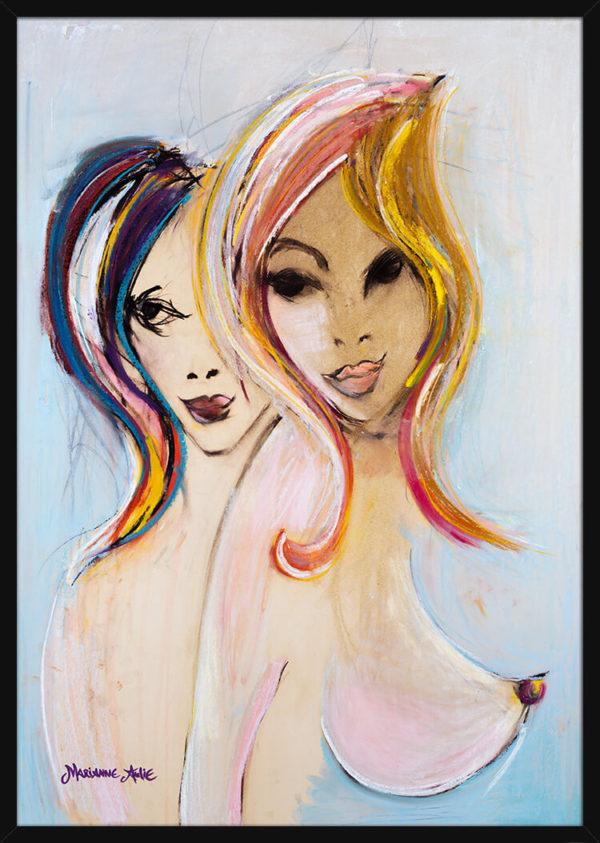 To kvinner tegnet i lyse pastellfarger, av kunstner Marianne Aulie. Poster i en svart ramme.