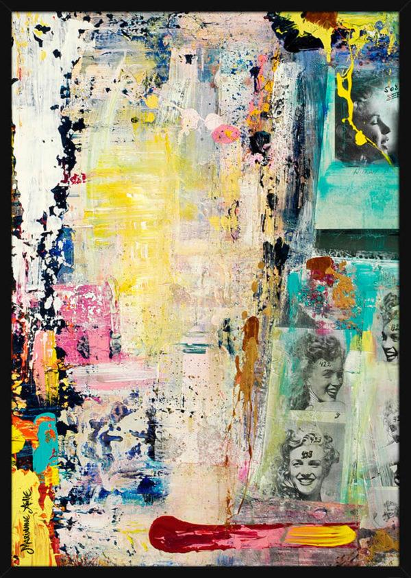 En collage av lyse og sterke farger i kontrast med foto bilder, av kunstner Marianne Aulie. Poster i en svart ramme.