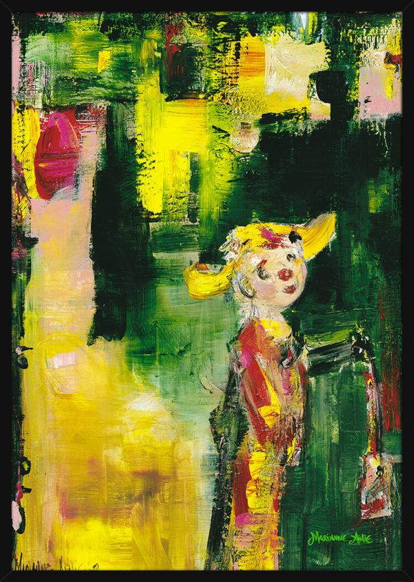 En søt Optimist malt med lyse og sterke farger, av kunstner Marianne Aulie. Poster i en svart ramme.