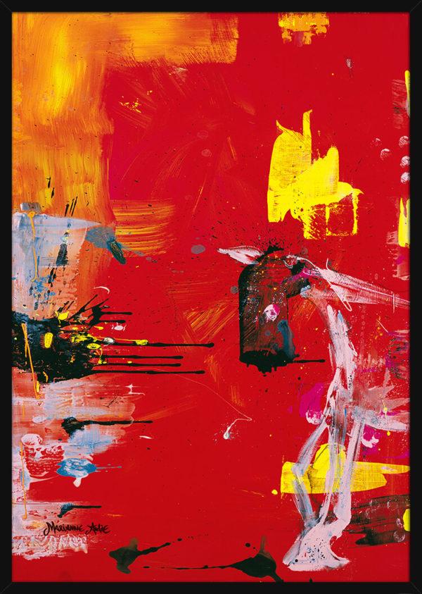 En hest malt med ekspressive penselstrøk over en rød bakgrunn, av kunstner Marianne Aulie. Poster i en svart ramme.