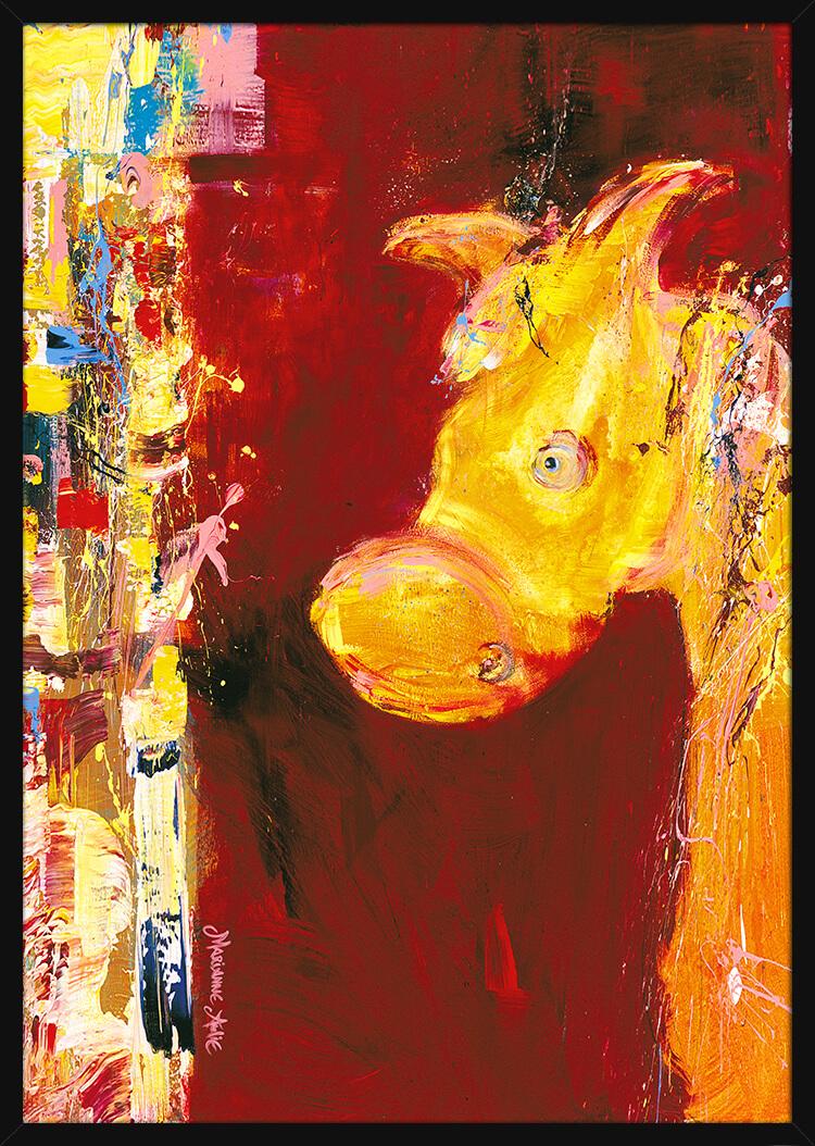 En gylden hest på en rød bakgrunn, malt med sterke penselstrøk av kunstner Marianne Aulie. Poster i en svart ramme.