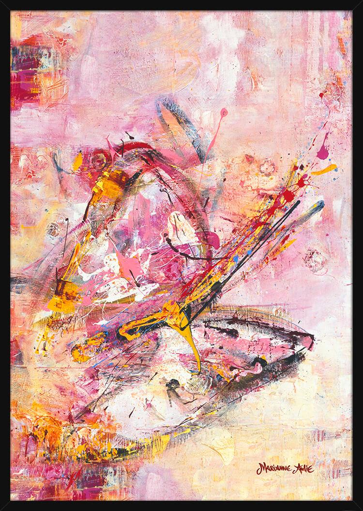 En lys og fargerik sommerfugl, malt av kunstner Marianne Aulie. Poster i en svart ramme.