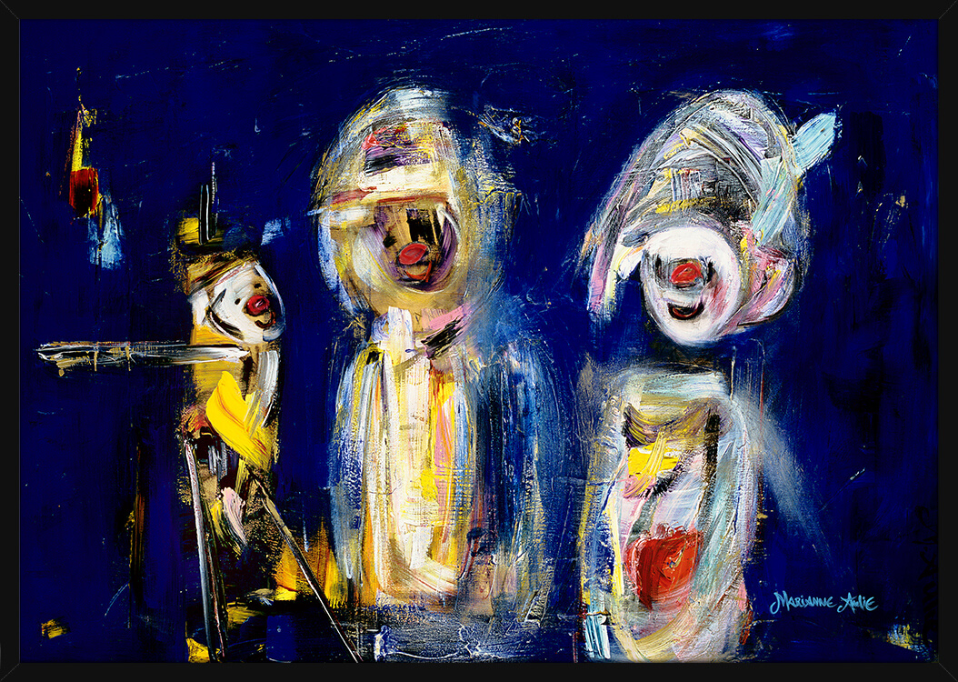 Tre Månefeierne Optimister malt i lyse og blå farger, av kunstner Marianne Aulie. Poster i en svart ramme.