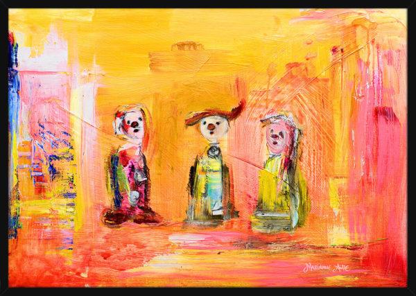 Tre små Optimister malt med lyse farger, av kunstner Marianne Aulie. Poster i en svart ramme.