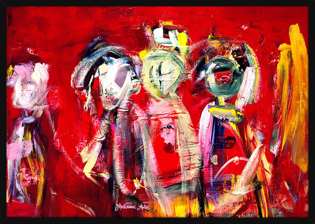Optimister malt med sterke penselstrøk over en rød bakgrunn, av kunstner Marianne Aulie. Poster i en svart ramme.