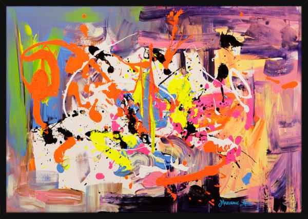 Et lyst og fargerikt abstrakt bilde malt med ekspressive penselstrøk, av kunstner Marianne Aulie. Poster i en svart ramme.
