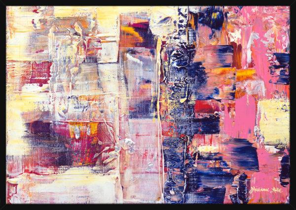 Abstrakt bilde malt med tykke og ekspressive malingsstrøk, av kunstner Marianne Aulie. Poster i en svart ramme.