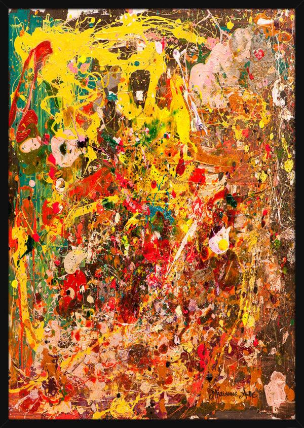 Abstrakt bilde malt med tykke og fargerike malingsstrøk, av kunstner Marianne Aulie. Poster i en svart ramme.