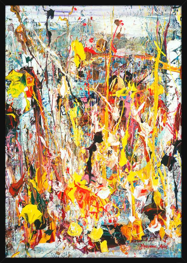 Abstrakt bilde malt med lyse og ekspressive malingsstrøk, av kunstner Marianne Aulie. Poster i en svart ramme.