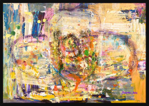 Poeten Optimist malt med ekspressive farger, av kunstner Marianne Aulie. Poster i en svart ramme.