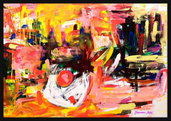West Village Optimist malt med lyse og sterke farger, av kunstner Marianne Aulie. Poster i en svart ramme.
