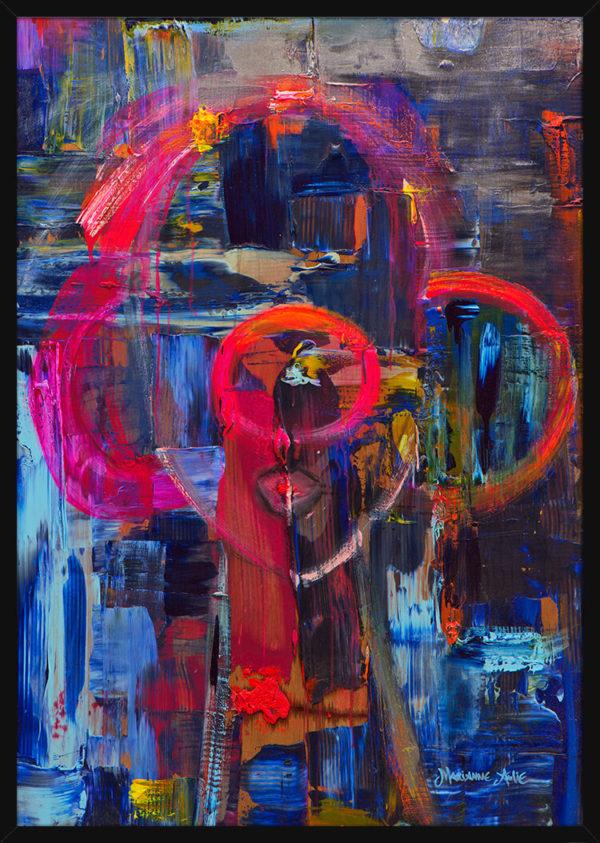 Love Optimist malt med rolige farger, av kunstner Marianne Aulie. Poster i en svart ramme.