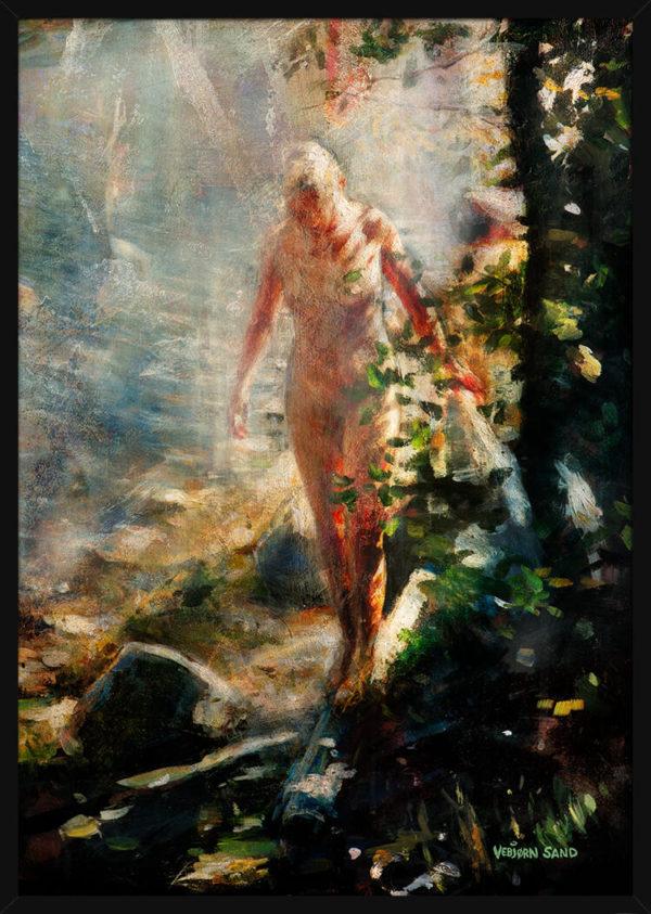 Akt studie av en bader, av kunstner Vebjørn Sand. Poster i en svart ramme.