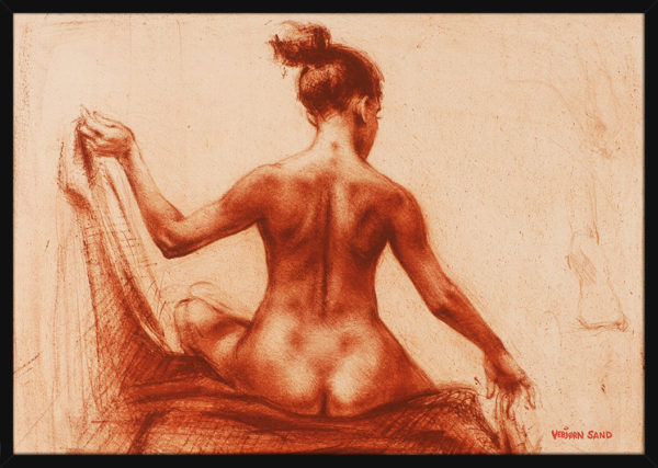 En anatomisk studie av en rygg, av kunstner Vebjørn Sand. Poster i en svart ramme.