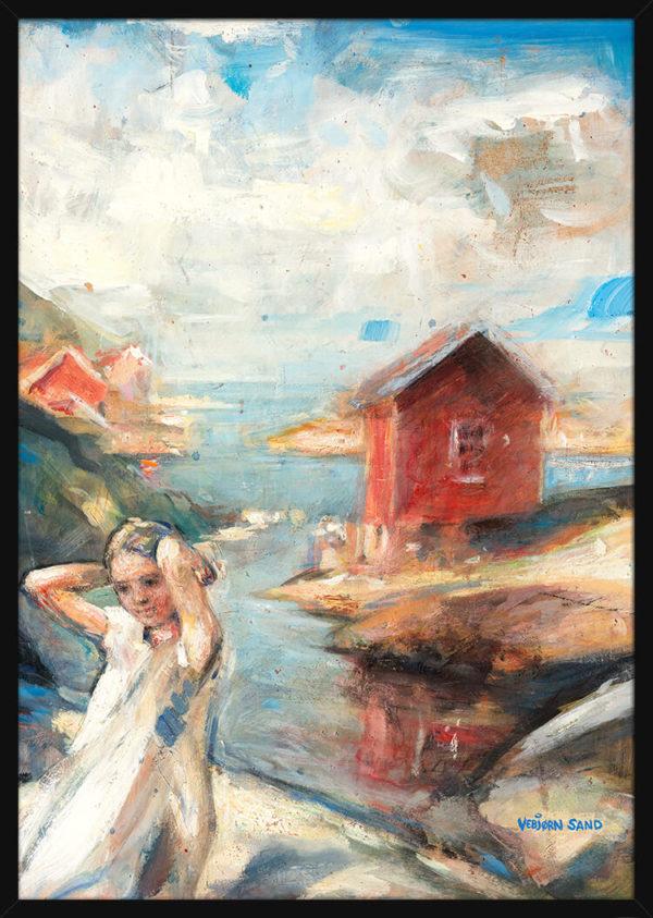 Et barn står ved kysten og en rød sjøbu, av kunstner Vebjørn Sand. Poster i en svart ramme.