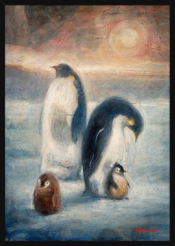 En pingvin familie i Antarktis, av kunstner Vebjørn Sand. Poster i en svart ramme.